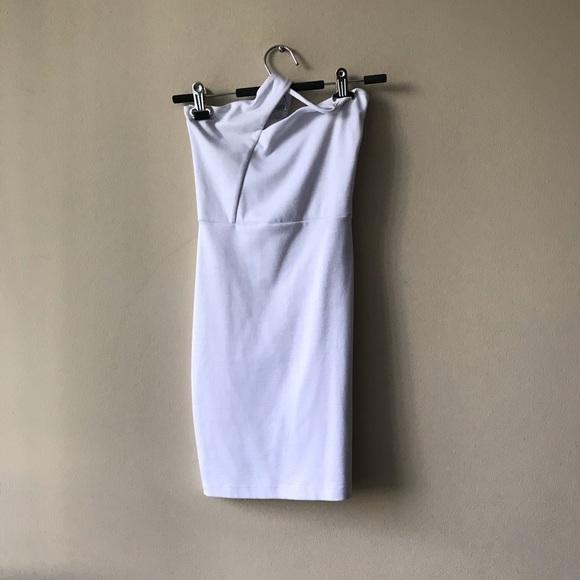 Cross neck cotton codycon dress
